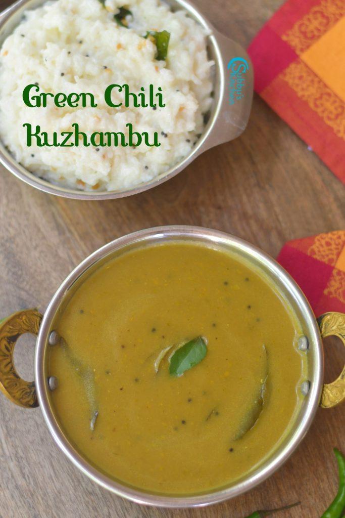 Green Chili Kuzhambu Recipe | Pacha Milagai Kuzhambu Recipe