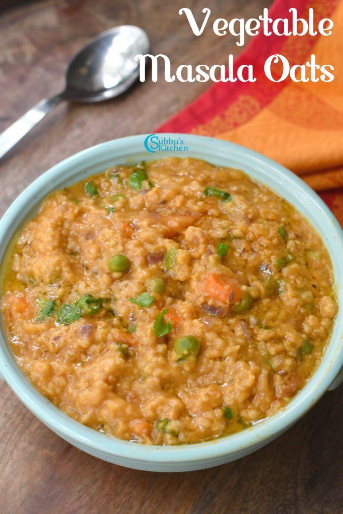 Vegetable Masala Oats Recipe